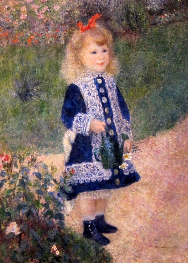 A girl with a watering can - by Pierre-Auguste Renoir