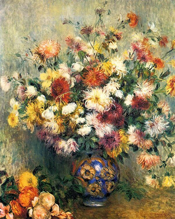 Bouquet of Chrysanthemums, 1844 - by Pierre-Auguste Renoir