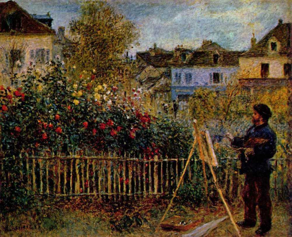 Claude monet painting in his garden - by Pierre-Auguste Renoir