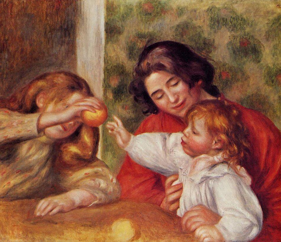 Gabrielle with Jean and a Little Girl - by Pierre-Auguste Renoir