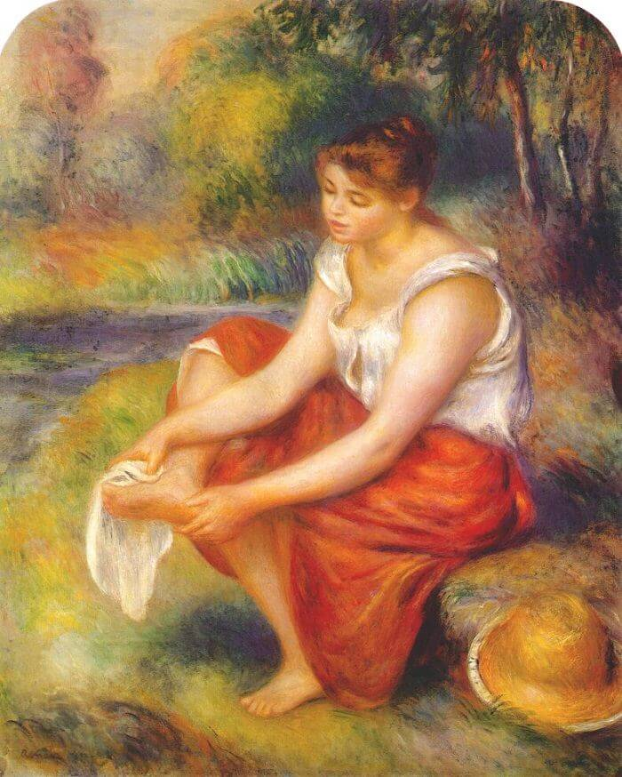Girl Wiping Her Feet - by Pierre-Auguste Renoir