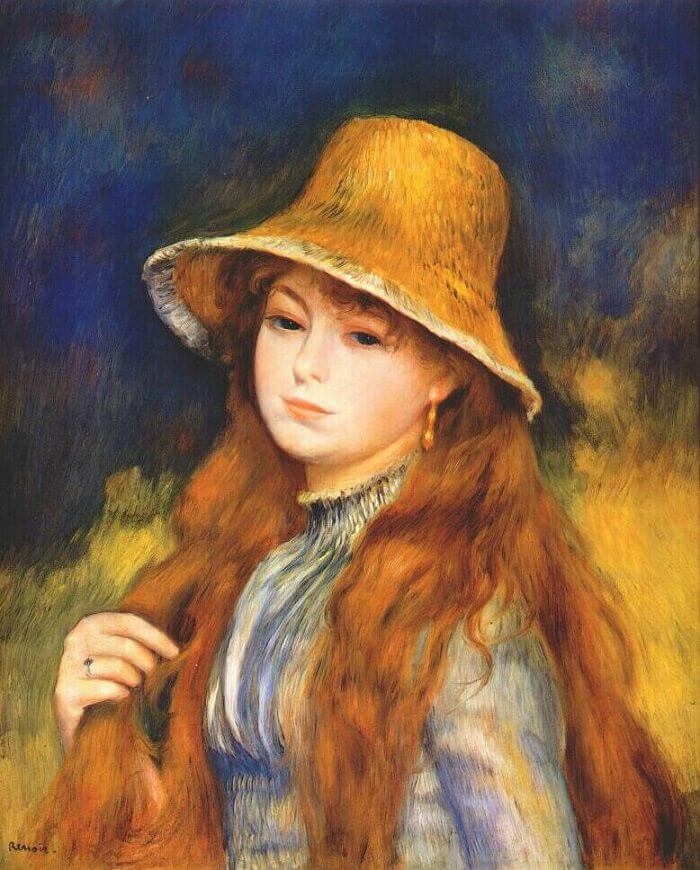 Girl with a Straw Hat - by Pierre-Auguste Renoir