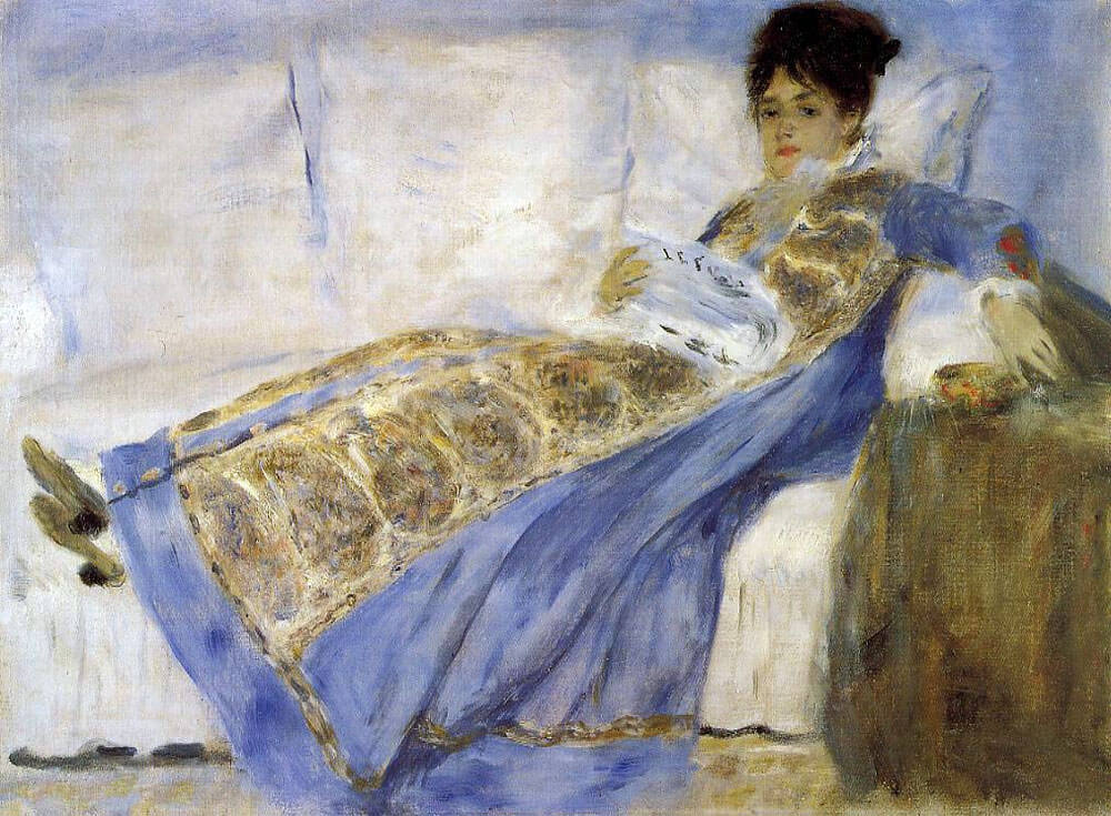 Madame Monet Lying on a Sofa - by Pierre-Auguste Renoir