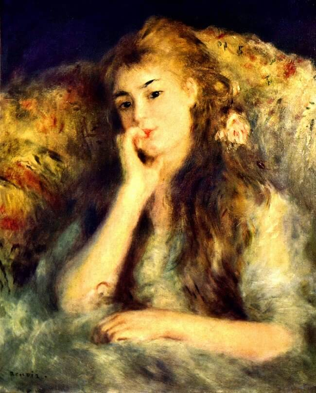 Portrait of a Girl - by Pierre-Auguste Renoir