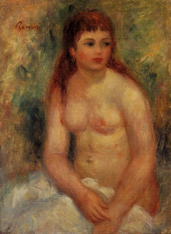 Seated Young Woman Nude - by Pierre-Auguste Renoir