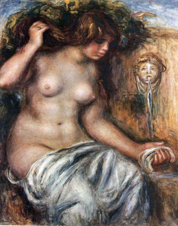 Woman at the Fountain - by Pierre-Auguste Renoir