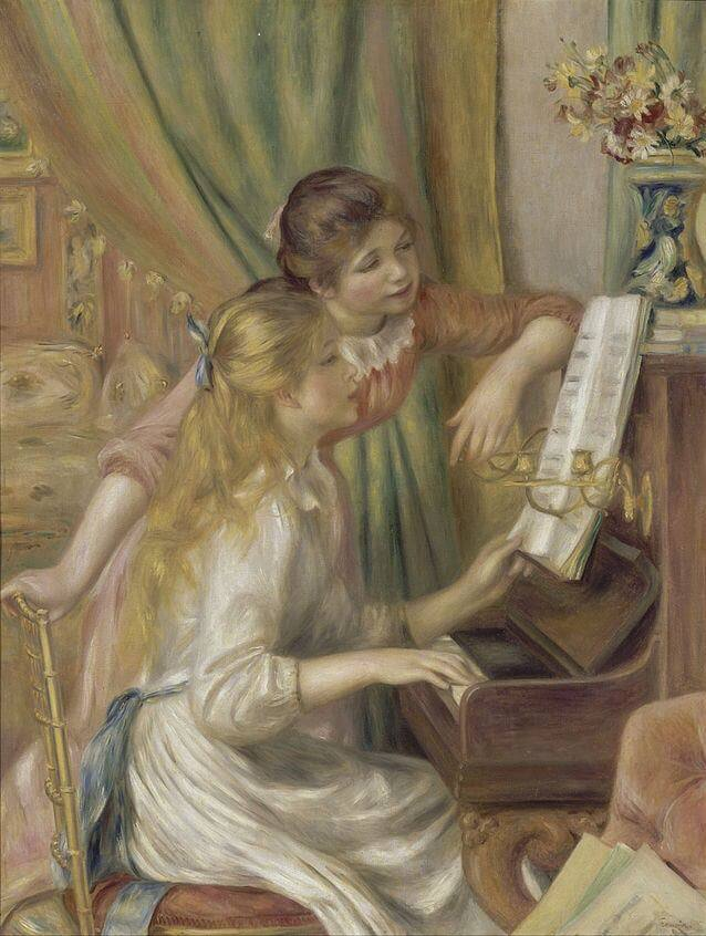 Young girls at the piano - by Pierre-Auguste Renoir